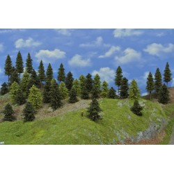 Forest N26 - Spruces, pines, green larches, height 5-14cm, 40pcs