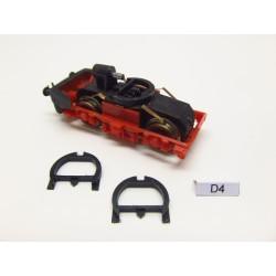 D4, Chassis holder for locomotives TT, BTTB E11,BR211,BR242,E499,YC1,E42 Bobina, 2pcs