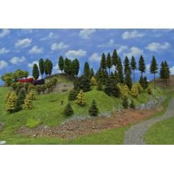 Forest N14 - Spruces, pines, autumn larches, deciduous, ornamental, height 3-19cm, 96pcs